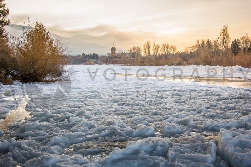 Frozen Clarkfork River, Late Afternoon, Missoula, Montana