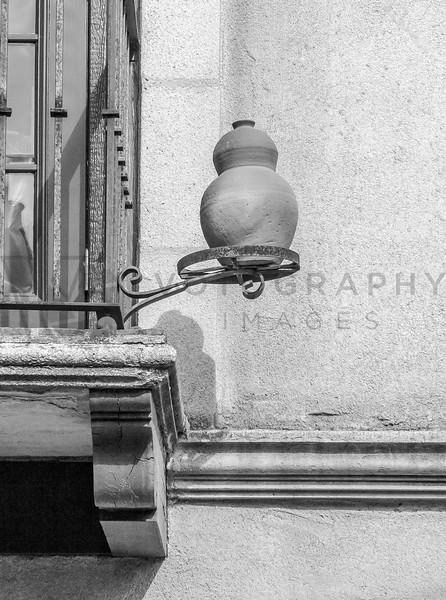 Pottery on Balcony, Sedona, Arizona - monochrome