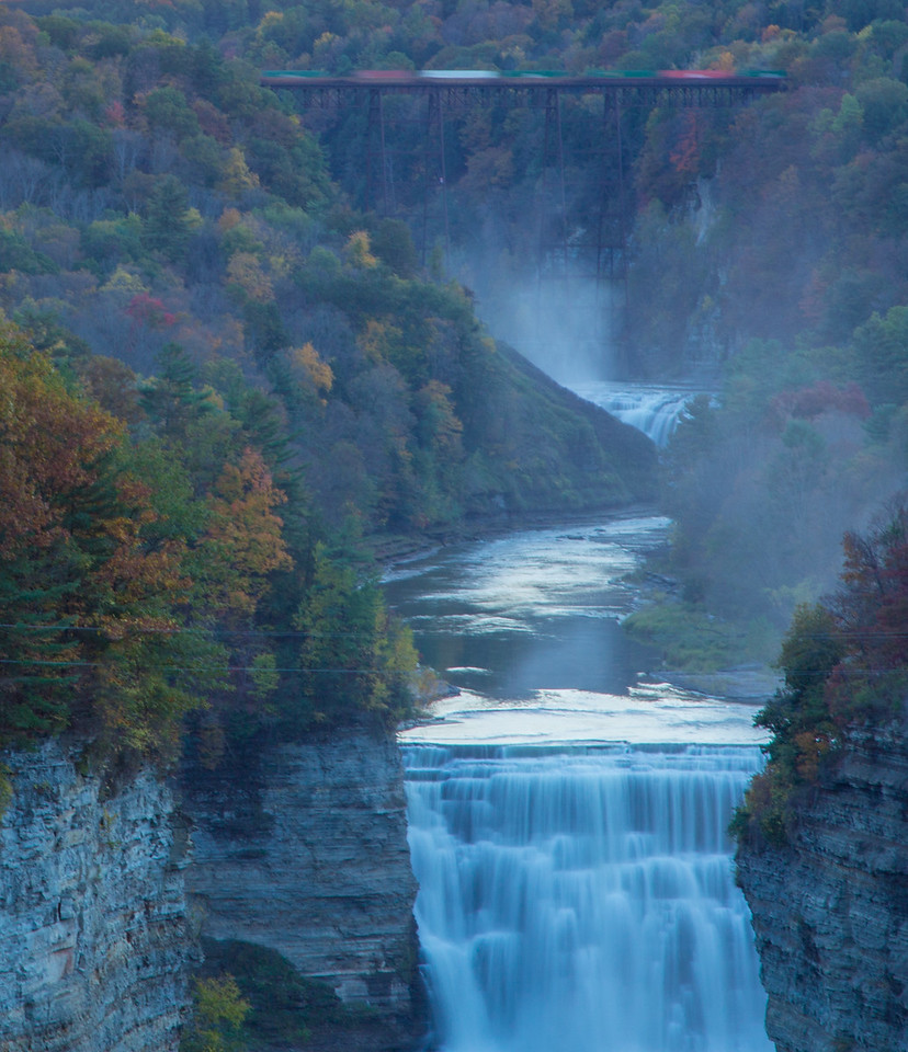 freight train over falls at letchworth state park