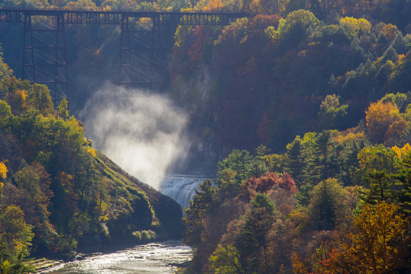 railroad bridge over upper falls, letchworth state park