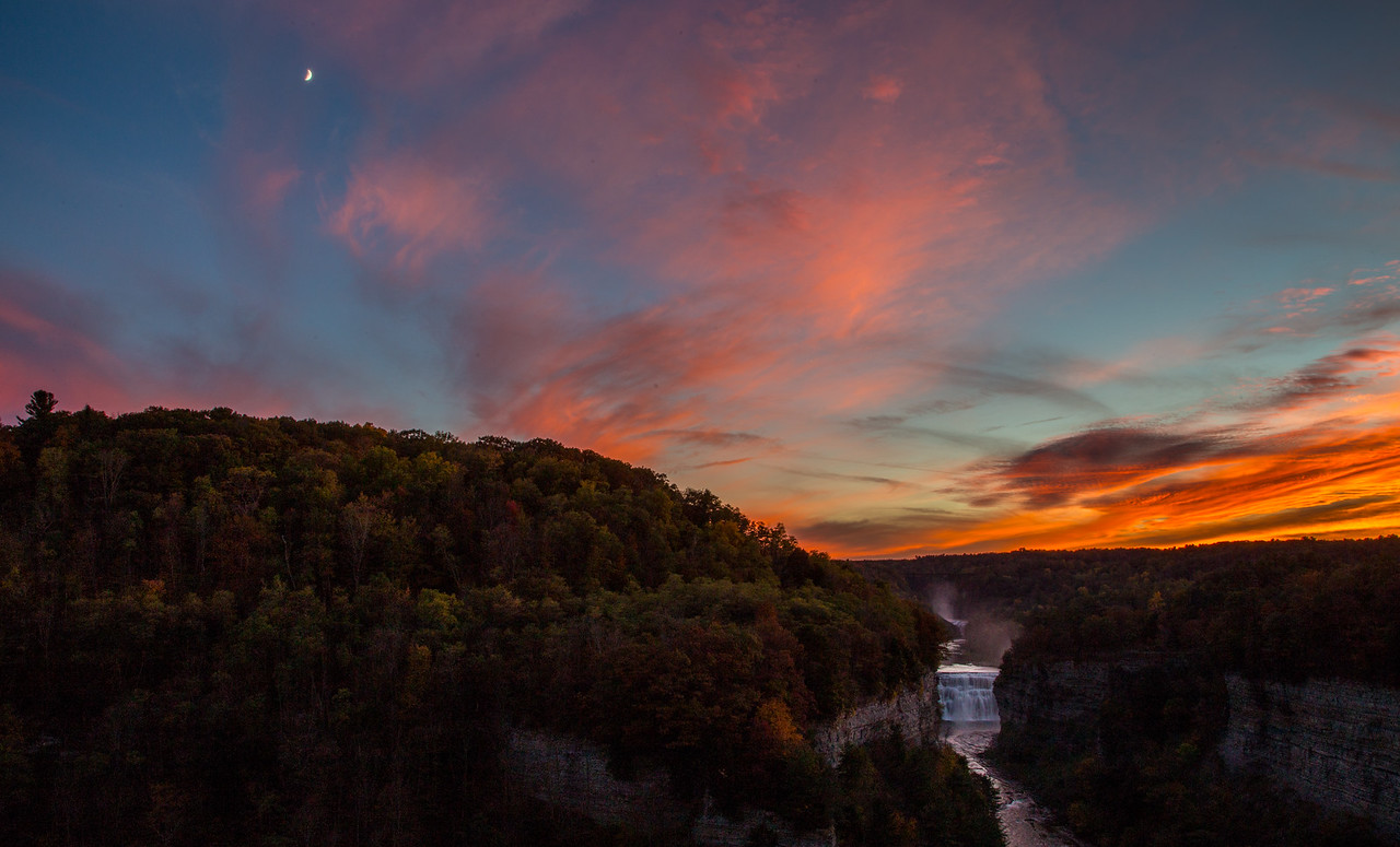 sunset at inspiration point, letchworth state park