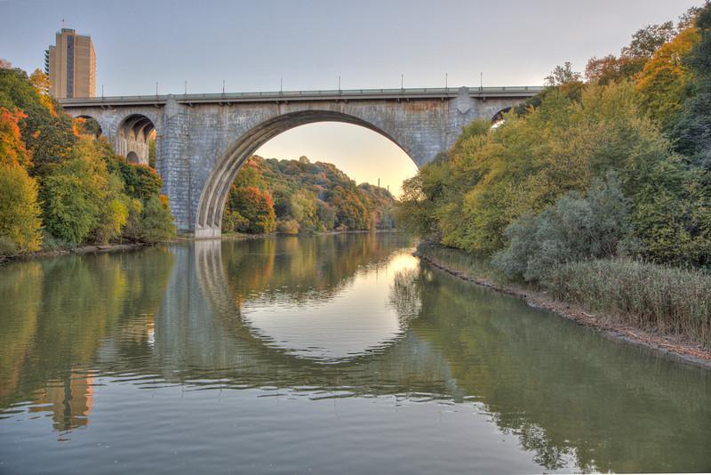 The Rochester rt 104 Veterins Memorial bridge.  Photo taken from the Harbor Belle.  HDR