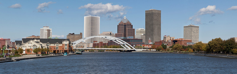 Panorama of Rochester skyline from the middle of the river.