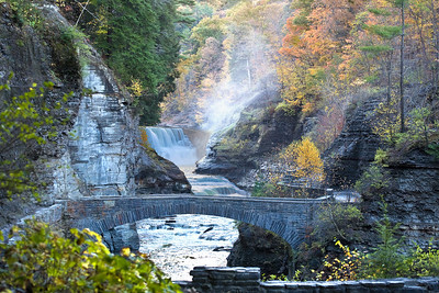 Lower falls and bridge in Letchworth State park.  October 31, 2007 Finger lakes