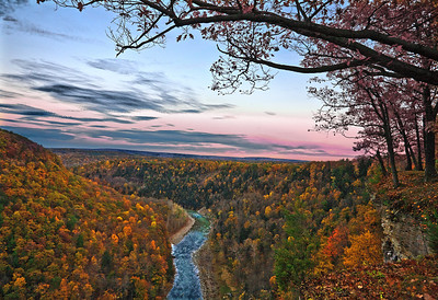 Letchworth gorge after sunset Finger lakes