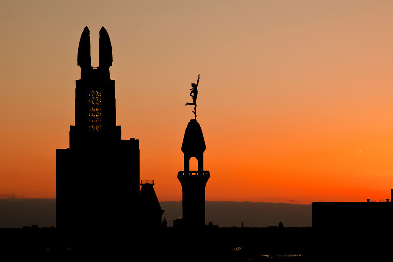 Wing Bank and Mercury statue. Part of Rochester Skyline.
