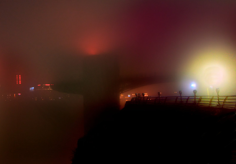 HDR March 17, 2012. Niagara falls lookout tower in fog at midnight