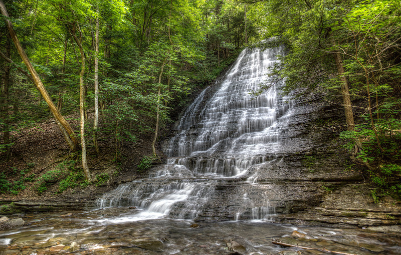Grimes Glen, Naples , NY. First Falls.  HDR