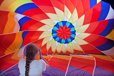 Balloon Festival, Letchworth State Park 2009; Inside the balloon; Girl photographing the inside of Flame II