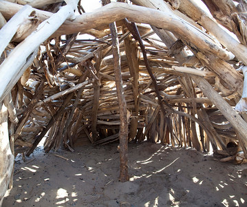 This is inside of a log teepee house built out of driftwood on the shores of Lake Erie (Dunkirk, NY) by a single young man.  Two vertical images stitched together.