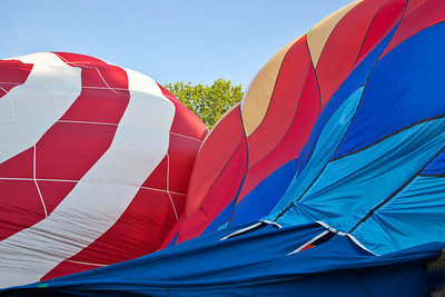 Balloon Festival, Letchworth State Park 2009;Filling Ballons with air; Flame II and another balloon