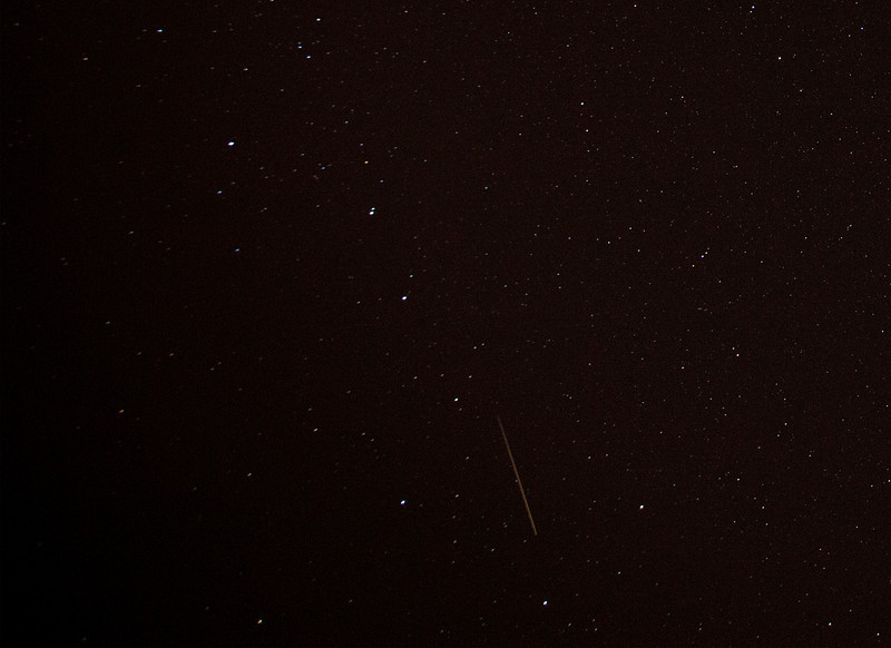 Perseid Meteor in the middle of the big dipper.