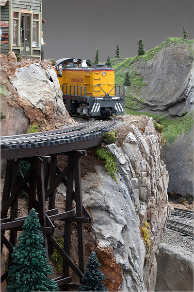 This is a model train layout that I used multiple images in a depth of field series to make the train look as real as possible.   The Garden Factory is the source.