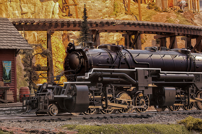 This is a model train layout that I used multiple images in a depth of field series to make the train look as real as possible.   The Garden Factory is the source. Alternate coloring.