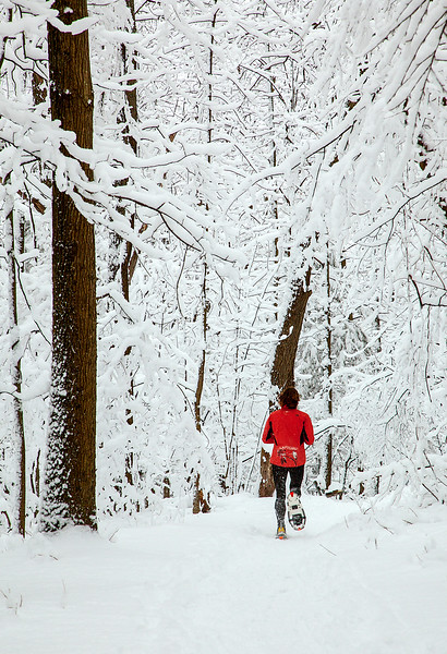 Mendon Ponds Park day after a snow fall.  Snow shoe jogger.