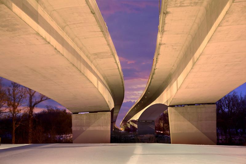 Sunrise, bridge over Genesee River in Rochester, NY