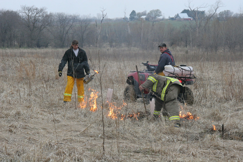 The burn, performed by three from the Palmyra fire department, starts by burning around small trees we need to protect. The burn can contains a mixture of gasoline and diesel fuel. The ATV has a tank on the back with water for a sprayer. The third fireman carries a broom that is wetted down and then used to sweep away the fire on the edges of the burn.
