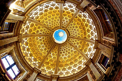 The inside of the dome in the cathedral of Siena.