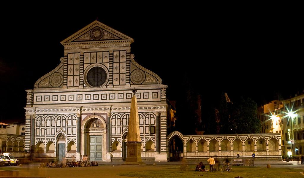 The Church of Santa Maria Novella, viewed from the piazza at night.