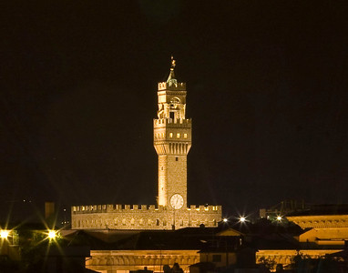 The tower of Palazzo Vecchio in Florence, Italy.  The tower was the prison for Cosimo de' Medici and Girolamo Savonarola at different times.
