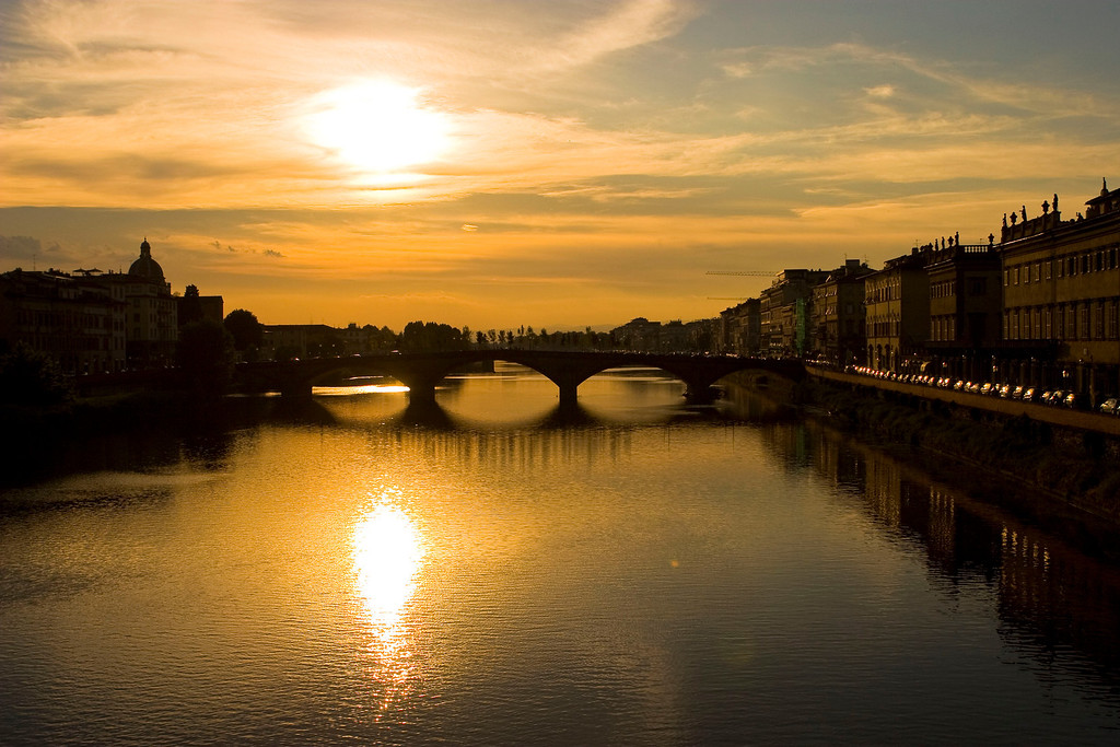 The Arno River near sunset.