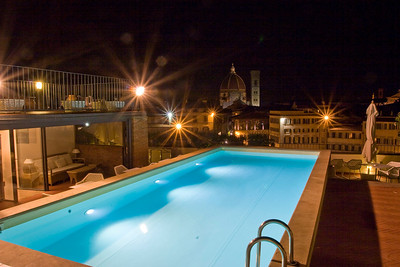 This is the view from the roof of the Grand Hotel Minerva at night, on the piazza di Santa Maria Novella.