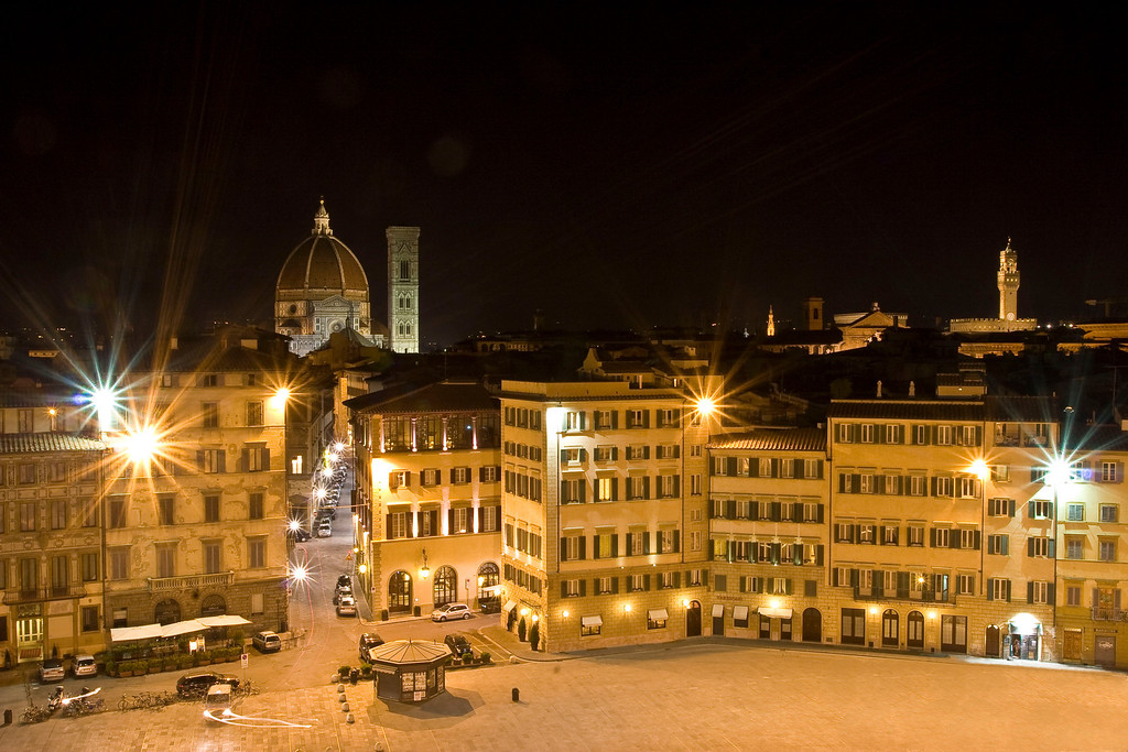 A view of the Duomo and central Florence at night from the Minerva Hotel in Piazza di Santa Maria Novella