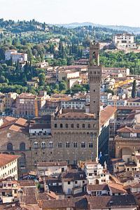Palazzo Vecchio and the Ufizzi from the cupola of the Duomo in Florence.