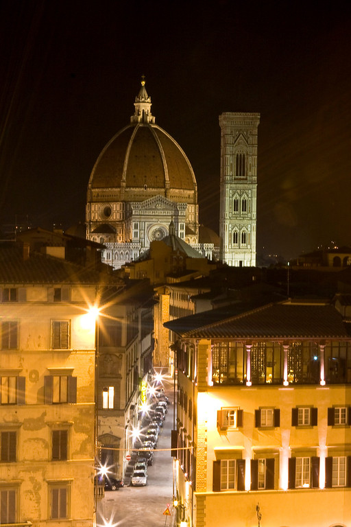 A late night view of the Duomo from the top of Piazza di Santa Maria Novella.