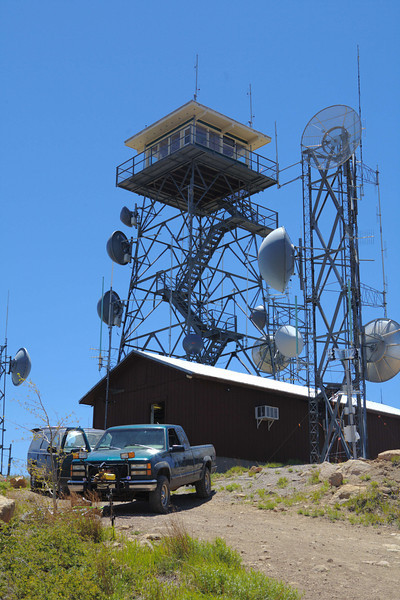 Microwave antennas and towers atop Mt. Elden.