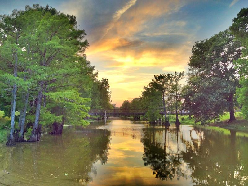 Sunset over Deer Creek in downtown Leland, Mississippi