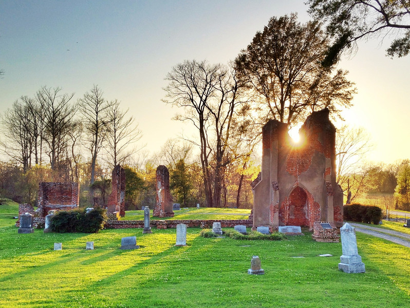 Sunset behind the ruins of St. John's Church - Glen Allan, Mississippi