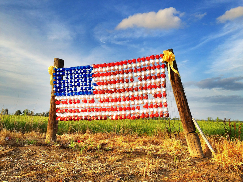 God Bless America - Panther Burn, Mississippi - American Flag made out of Solo cups...