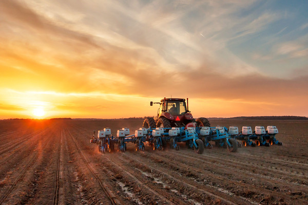 Some of the first corn being planted as the sun sets on Bourbon Plantation in Leland, Mississippi. I believe Spring is here! (finally)