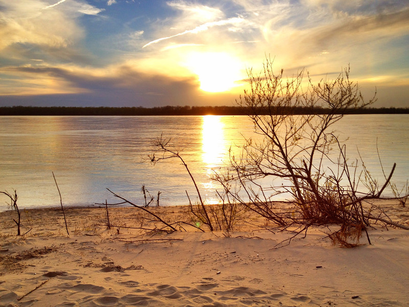 Sunset on the banks of the Mighty Mississippi River - Greenville, Mississippi