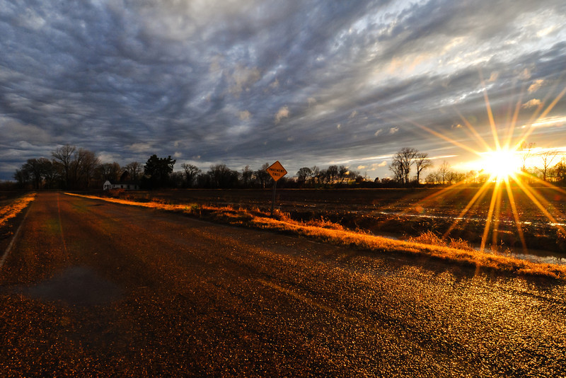 """Pavement Ends"" - Christmas Day Sunset on Eagle Bend Road near Yazoo City, Mississippi"