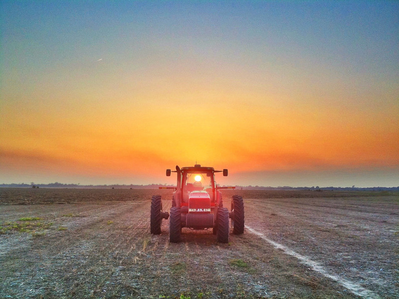 Red Tractor Sunset - Tribbett, Mississippi