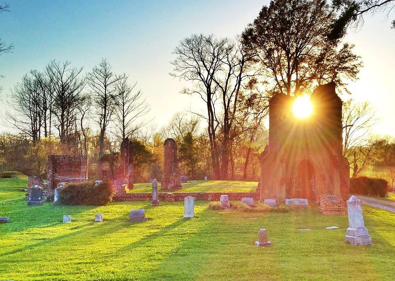 Sun rays streaming through the ruins of St. John's Church - Glen Allan, Mississippi