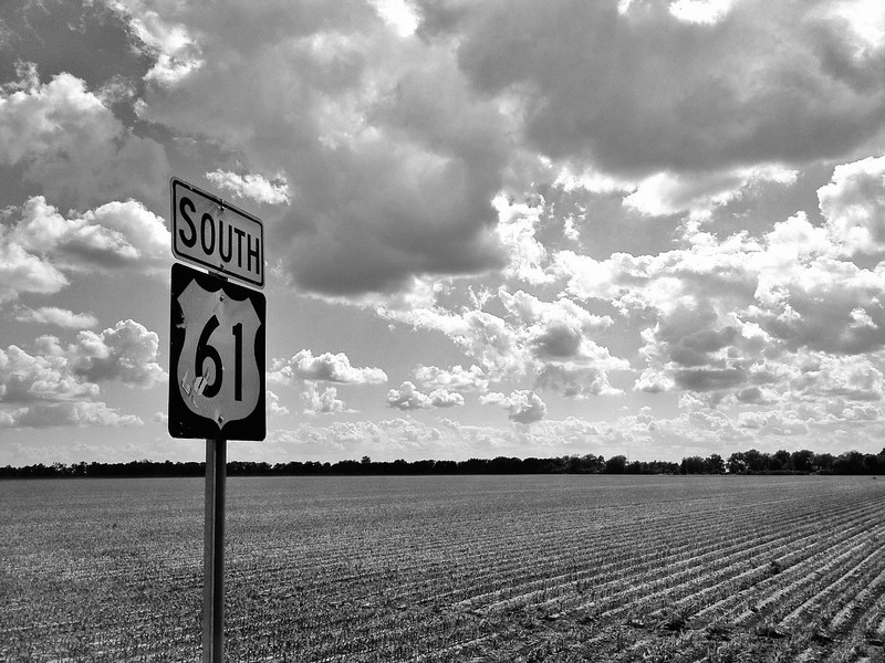 "Highway 61 South - the ""Blues Highway"" that runs through the heart of the Delta - Arcola, Mississippi"