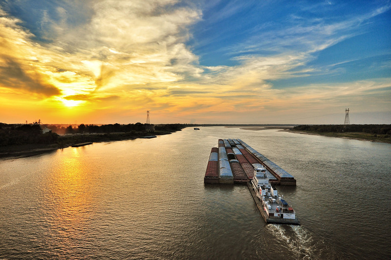 Sunset over the mighty low, Mighty Mississippi - near Greenville, Mississippi