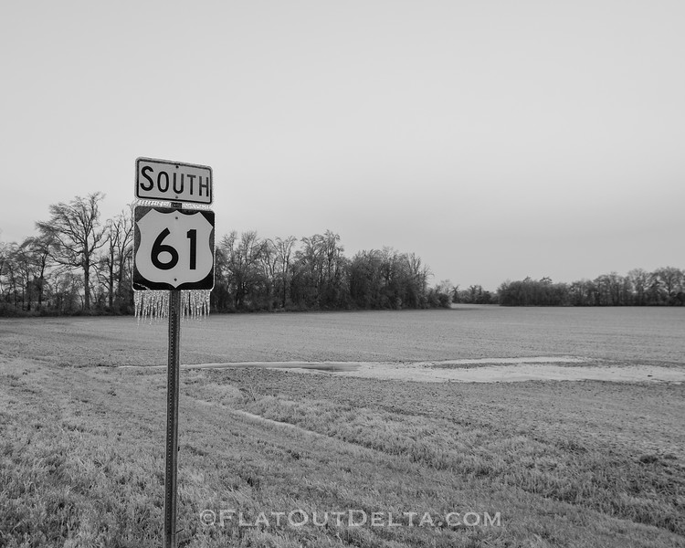 "Who is as cold as this sign this morning? It is mighty cold along Highway 61 South (the ""Blues Highway) this week! - near Tunica, Mississippi. Feel free to share! <br /> <br /> Follow, keep up and see more photos on instagram.com/johnmontfort"