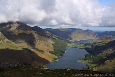 View from the summit looking towards Buttermere - the village is just to the top right amongst the trees