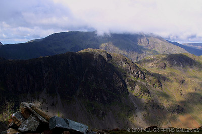 View looking across from the summit - the stones in the foreground are at the summit