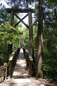 Suspension bridge over the Santa Fe river in O'Leno State park O'Leno State park