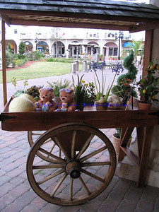 Flower Cart with little teddy bears, Blooming Flowers and Gifts - European Village, Palm Coast, FL