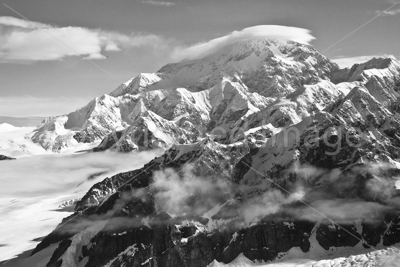 Mount McKinley with cloud cap (B&W)