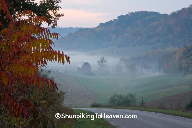 Foggy Autumn Farm Scene, Richland County, Wisconsin