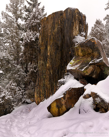 Rock, Lichen, snow