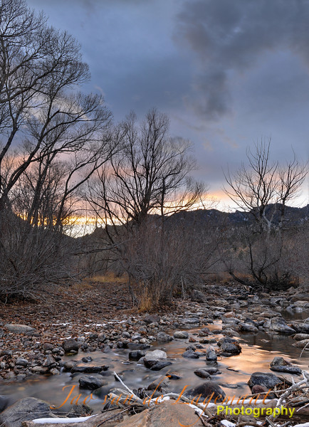 Boulder creek sunset. Assembled from 4 image directions taken using a tripod and a Nikon D300. Each of the four image directions was shot using 5 exposures allowing me to combine exposures afterwards. The resolution of this image is 35 MP.