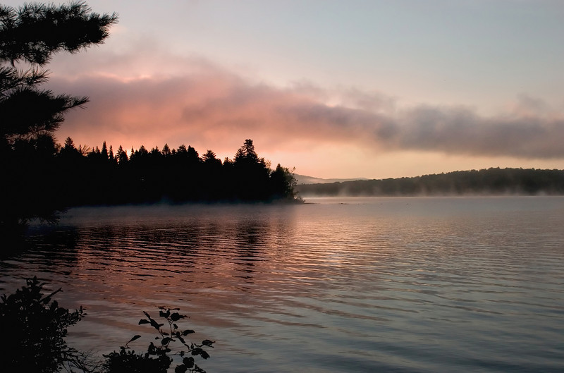 Rich sunrise over Lake Umbagog in New Hampshire